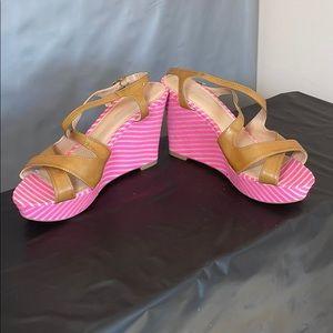 TOMMY HILFIGER Hot Pink Striped Justina Wedge
